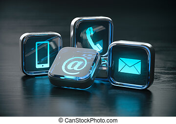Contact us website page and internet concept. Contact methods. Signs of phone, mobile, letter and e-mail.