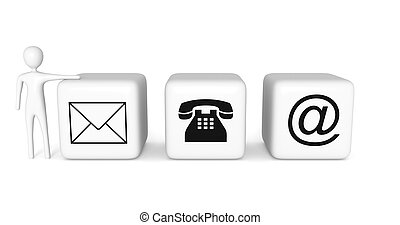 Contact us: white cubes with a white 3d man on white background, 3d illustration