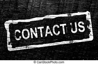 Contact Us - White stamp contact us over black background