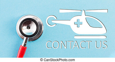 Contact us with helicopter as emergency concept
