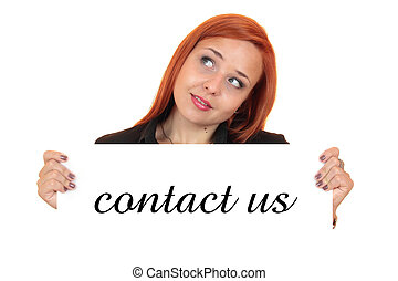 Contact us. Woman holding up banner