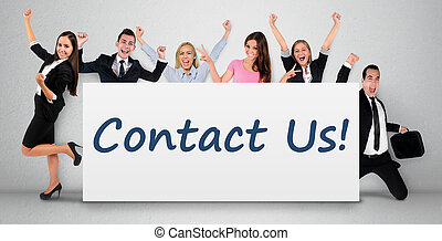 Contact us word on banner