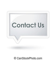 contact us words on a speech bubble over white