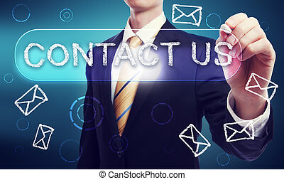 Contact Us written in Chalk by Business Man - Business Man...