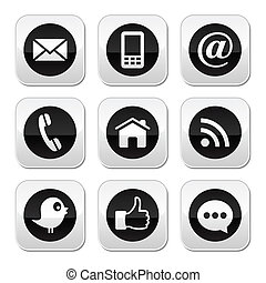 Social media, contact page grey square buttons set isolated on white