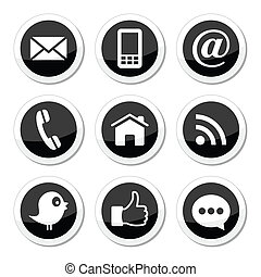 Social media, contact page circle black labels set isolated on white