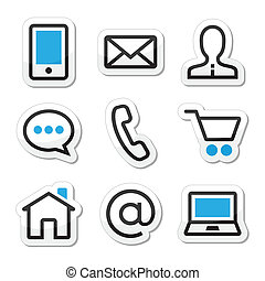Contact web vector stroke icons set - Internet website blue ...