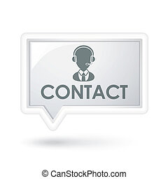 contact word with service icon on a speech bubble over white
