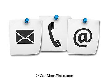 contactar-nos, ícones correia fotorreceptora, ligado, poste