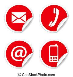 contactar-nos, ícones, ligado, vermelho, adesivos