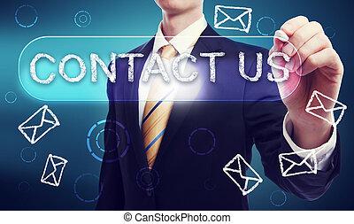 contactar-nos, escrito, em, giz, por, homem negócio
