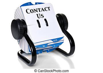 contactar-nos, ligado, rotativo, cartão, índice