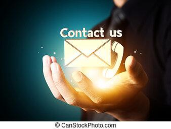 contactar-nos, símbolo, em, negócio, mão