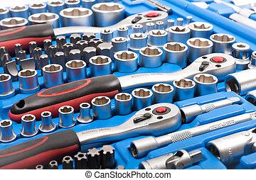 contactdoos, vrijstaand, moersleutel, achtergrond, toolbox, ...