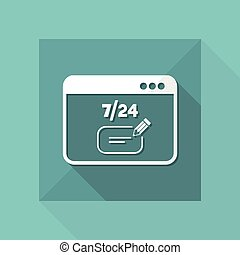 Contacte us full time - text box chat - Vector flat icon
