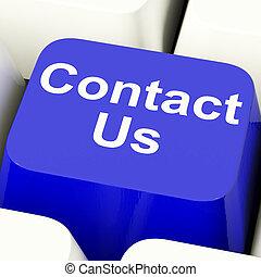 contacteer ons, computer sleutel, in, blauwe , voor, helpdesk, of, hulp