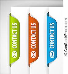 contacteer ons, etiketten, /, stickers, op de rand, van, de,...