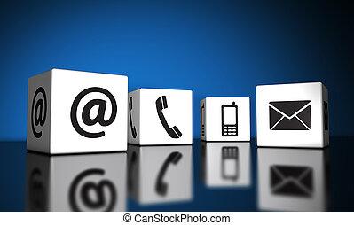 contacteer ons, iconen, op, blokje