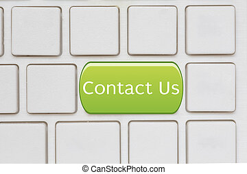 contacteer ons, knoop, op, computer toetsenbord