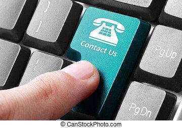 contacteer ons, knoop, op, de, toetsenbord