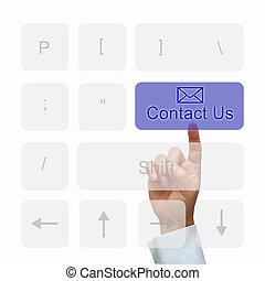 contacteer ons, knoop, op, toetsenbord