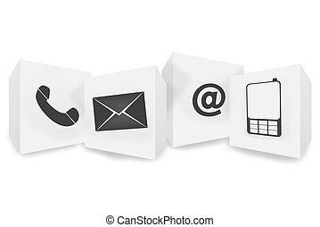 contacteer ons, pictogram, knoop, ontwerp