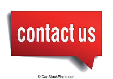 contacteer ons, rood, 3d, realistisch, papier,...