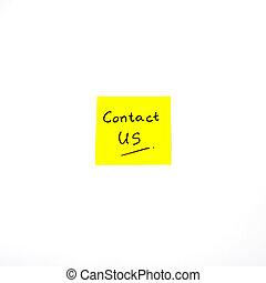 contacteer ons, woord, op, deurpost het