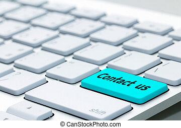 contacteer ons, woord, op, toetsenbord