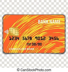 Contactless Credit Card isolated on transparent background....