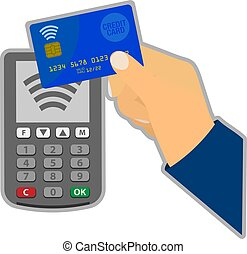 contactless credit card payment concept with hand holding...