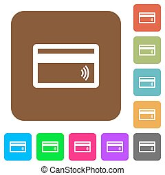 Contactless credit card rounded square flat icons