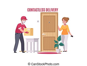Contactless delivery service with courier and customer cartoon vector illustration