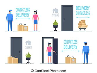 Contactless delivery. Working at home. Flat Style. isolated on white background