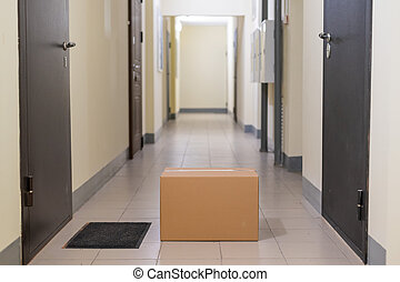 Contactless door delivery concept. Cardboard box with online purchase at the front door in the empty hall of an apartment building.