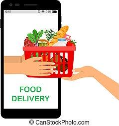 Contactless delivery. Online food store, supermarket mobile app. Hands holding grocery basket vector illustration
