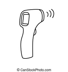 Contactless Infrared Thermometer icon in flat style isolated on white background. Vector illustration.