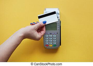 contactless, pagamento, feito, por, cartão crédito