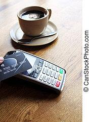 contactless, pago, tarjeta, pdq, plano de fondo, espacio de...