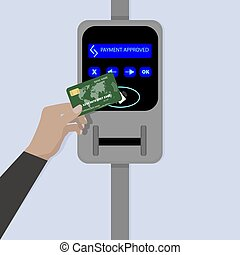 Contactless payment by credit card. Rfid and nfc, buy ticket...