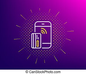 Contactless payment card line icon. Phone money sign. Vector...