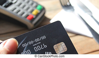 contactless payment card pdq background copy space with hand holding credit card to pay
