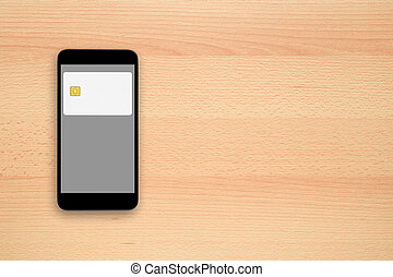Contactless payment concept - credit card on smartphone...
