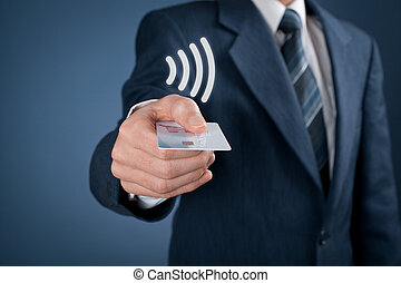 Contactless payment concept. Man pay with contactless credit...