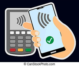 contactless payment concept with hand holding smartphone...