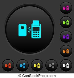 Contactless payment dark push buttons with color icons -...