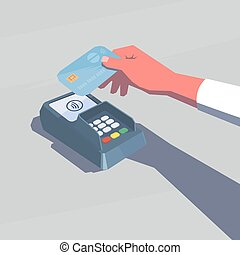 Contactless payment. Female hand holding credit card. NFC...