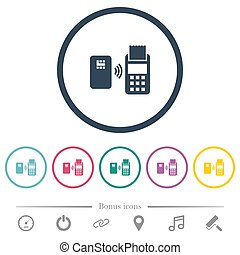 Contactless payment flat color icons in round outlines. 6...
