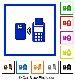 Contactless payment flat framed icons - Contactless payment...