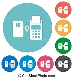 Contactless payment flat round icons - Contactless payment...